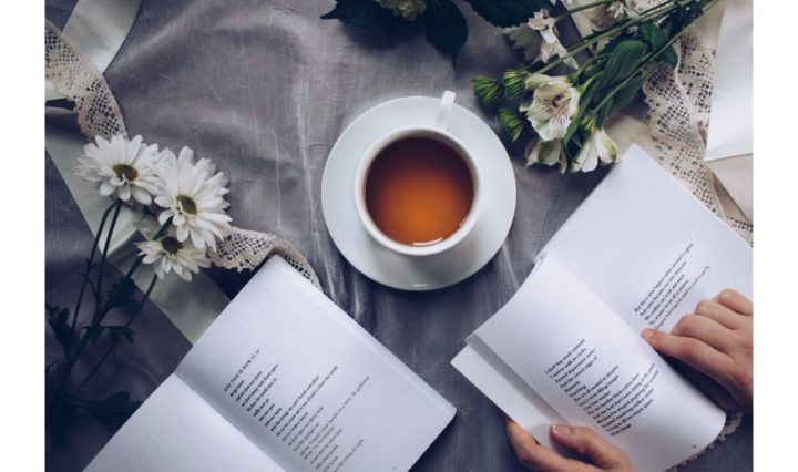 Reading while having a cup of tea