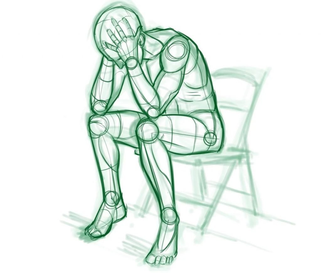 Sketch Of A Man Sitting On Chair And Crying - take control of your life