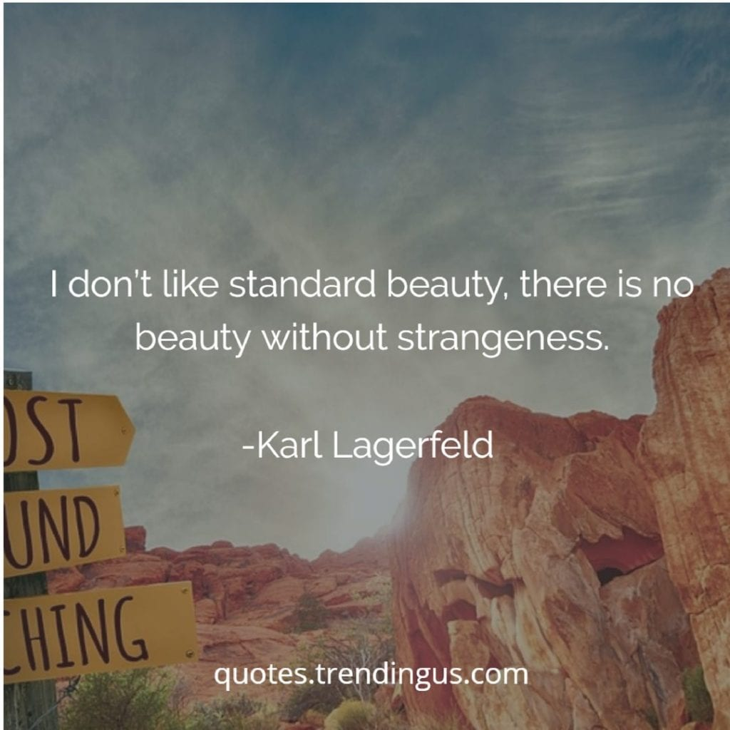 "Karl Lagerfeld says, ""I don't like standard beauty, there is no beauty without strangeness."""