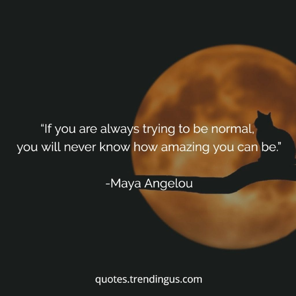 "Maya Angelou once said, ""If you are always trying to be normal, you will never know how amazing you can be."""