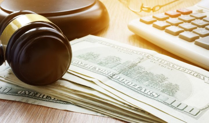 Bail Bond Concept. Gavel And Dollar Banknotes.