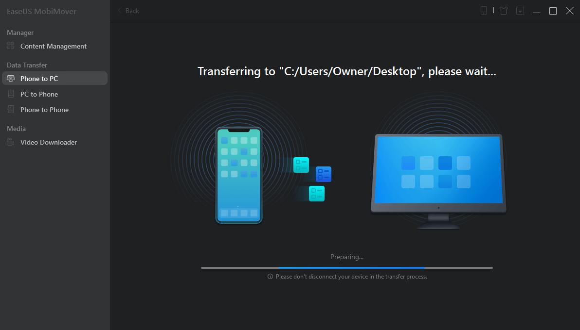 Device To Computer EaseUS mobimover